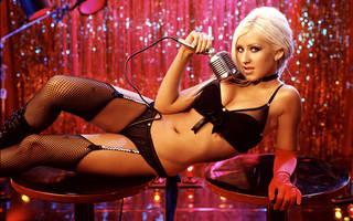 Bonito e brilhante papel de parede chique Christina Aguilera
