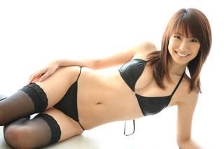 Sexy asiática en medias.